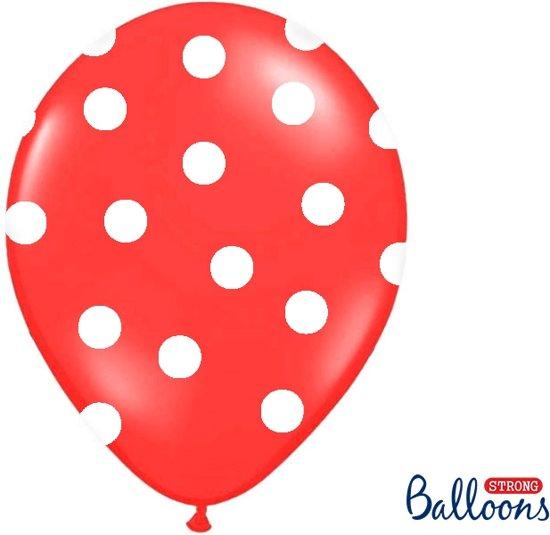 Ballonnen rood met dots 50 stuks