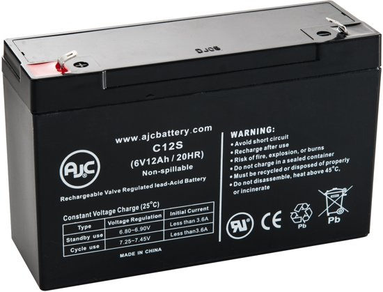 AJC® battery compatibel met Panasonic LC-R0612P 6V 12Ah Lood zuur accu