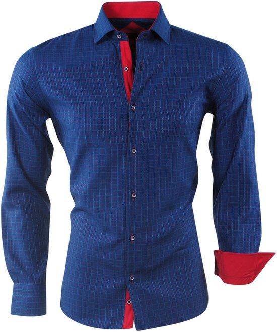 Geblokt Navy Fit Slim Overhemd PradzHeren N8nm0w