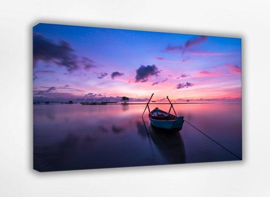 Boot in de zonsondergang 40x30 cm. Canvas Schilderij, 100% katoen