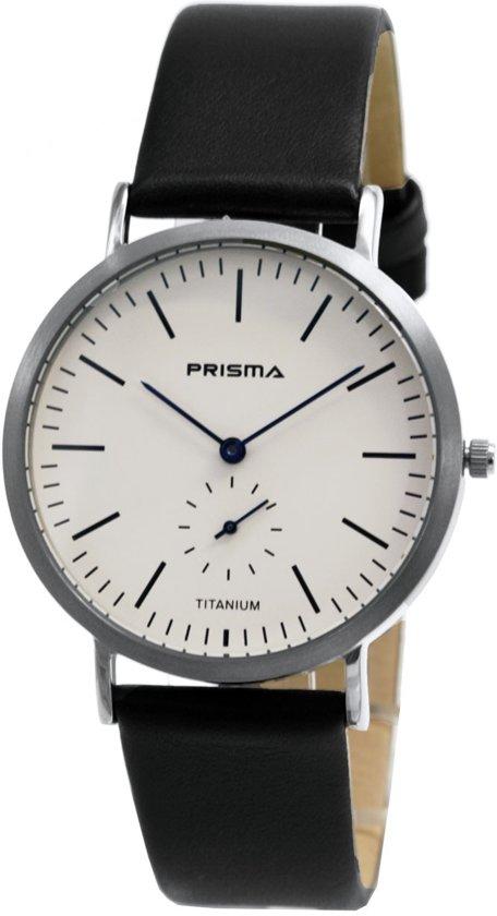 Prisma Herenhorloge P.1227 Lederen band Zilver