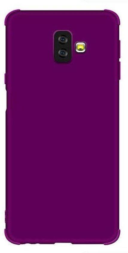 Teleplus Samsung Galaxy J4 Plus Matte Neva Silicone Case Purple + Nano Screen Protector hoesje