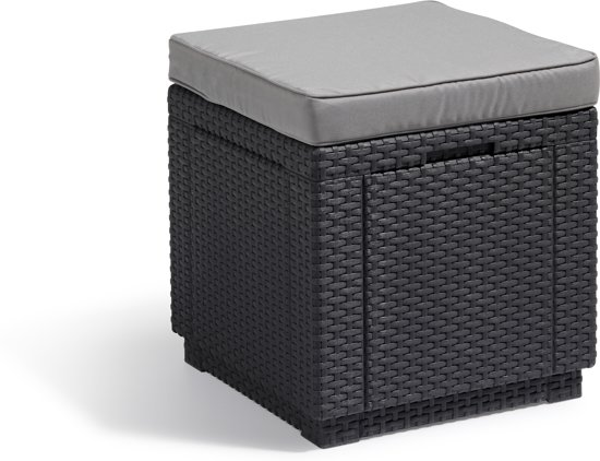 Allibert Cube - Poef - Voetenbank - Opbergen - 42x42x39 cm Antraciet
