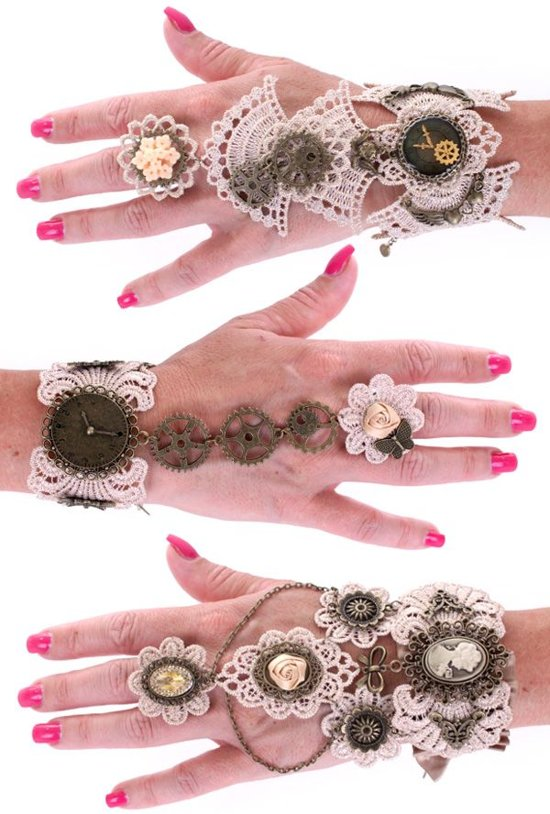 Armband kant met ring Steampunk per stuk diverse modellen