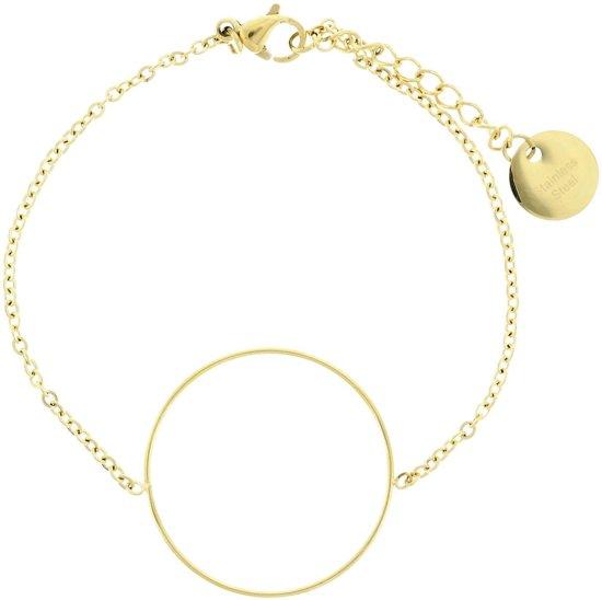 Minimalistische armband met ronde hanger stainless steel (staal) goud kleur