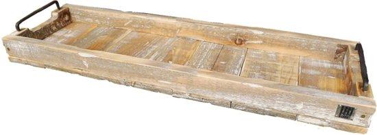 dienblad steigerhout rechthoek metalen grepen 58x20x9cm