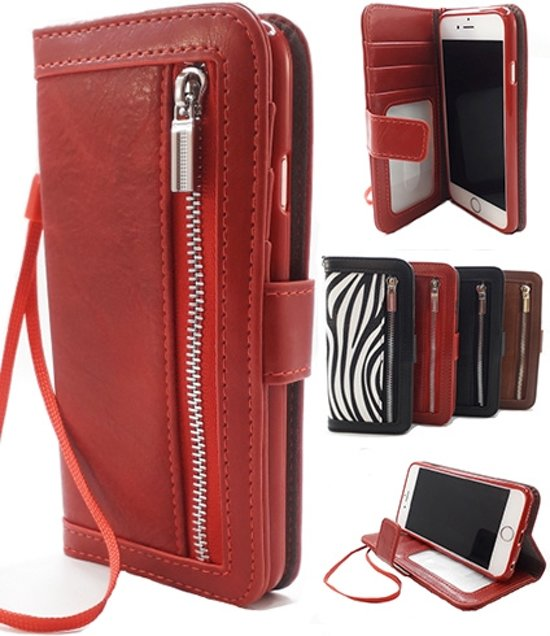 Apple iPhone XR Rode Wallet Book Case Boekhoesje Telefoonhoesje Hoesje met pasjesflip en rits voor kleingeld