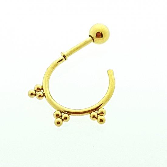 Helixpiercing / tragus piercing goudkleur rond