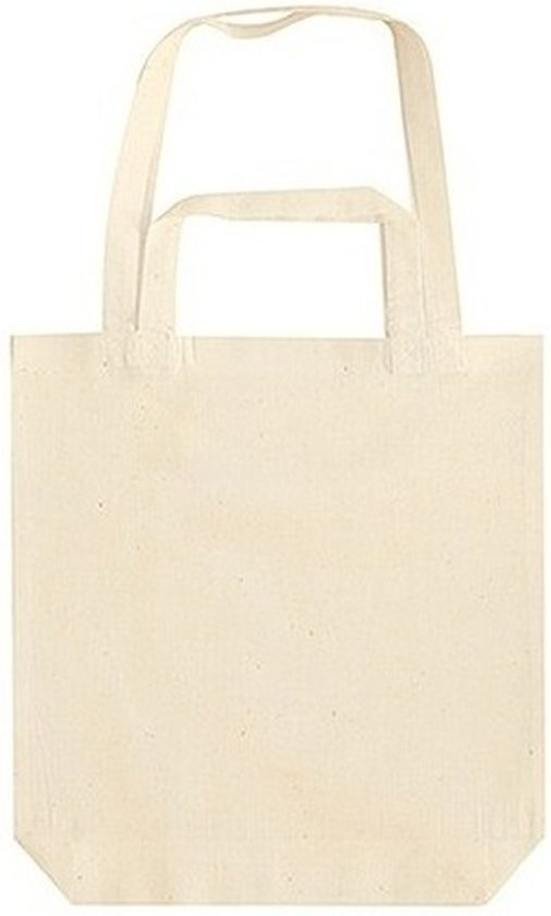 b15f725ef63 Beige canvas tas met dubbel hengsel 38 x 42 cm- Bedrukbare katoenen tas/ shopper