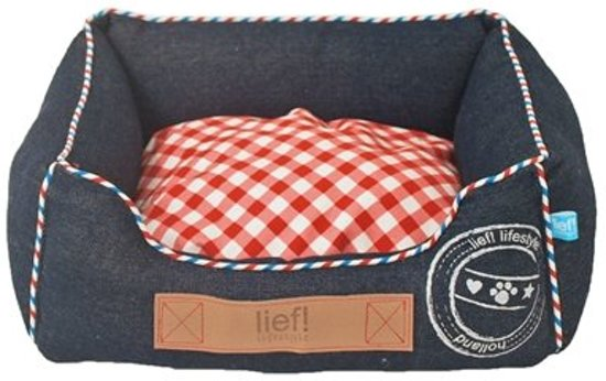 Lief! Unisex Katten - hondenmand - Denim/Rood - 40 x 30 cm