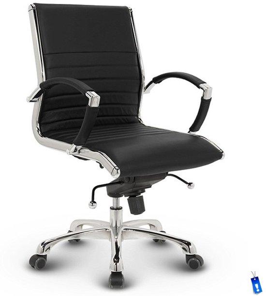 Design Bureaustoel Zwart Leer.Bol Com Bureaustoel Lincoln Relax Design Lage Rugleuning