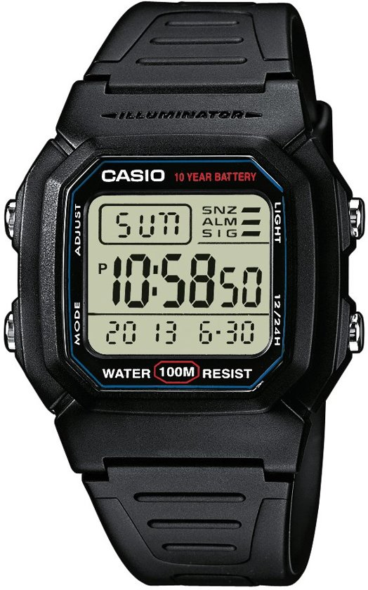 Casio W-800H-1AVES - Horloge - Kunststof - Zwart - Ø 36.8 mm
