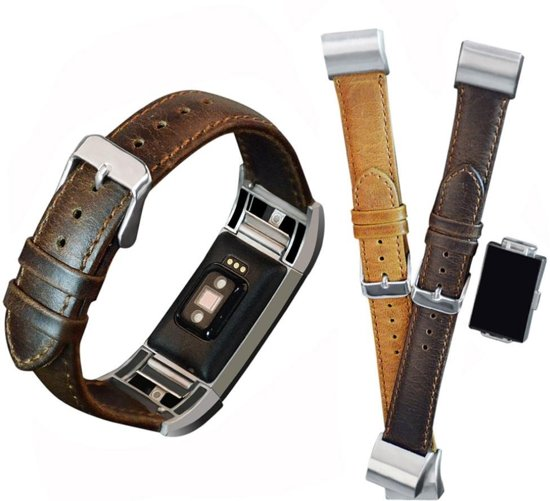 AA Commerce Leer bandje - Fitbit Charge 2 - Donker Bruin - Small