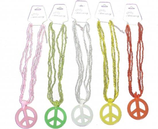 Kralenketting met Peace teken  Zwart