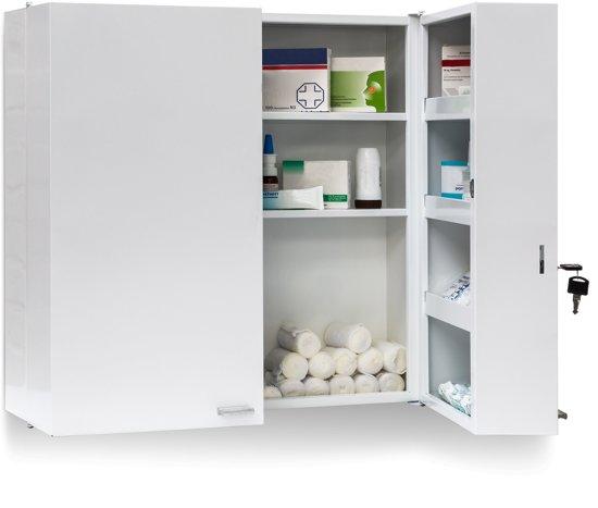relaxdays medicijnkastje XXL wit, medicijnkast met slot, eerste hulp, kastje