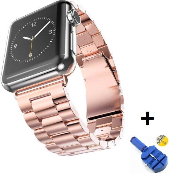 Metalen Armband Voor Apple Watch Series 1/2/3/4 42/44 MM Horloge Band Strap iWatch Schakel Polsband - Rose Goud Kleurig