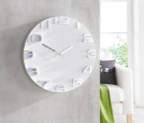 Moderne futuristisch design klok wit 35 cm - Moderne klok ...