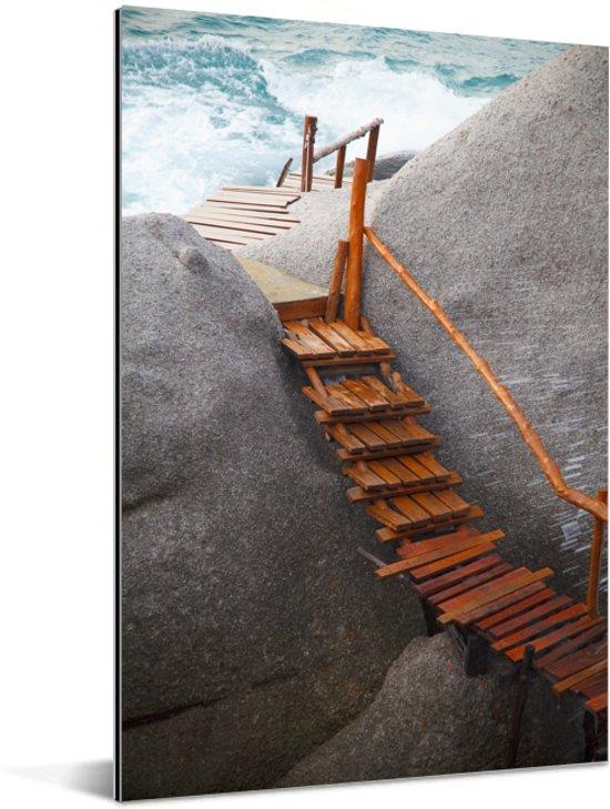 Steiger tussen de rotsen Ko Tao Thailand Aluminium 20x30 cm - klein - Foto print op Aluminium (metaal wanddecoratie)