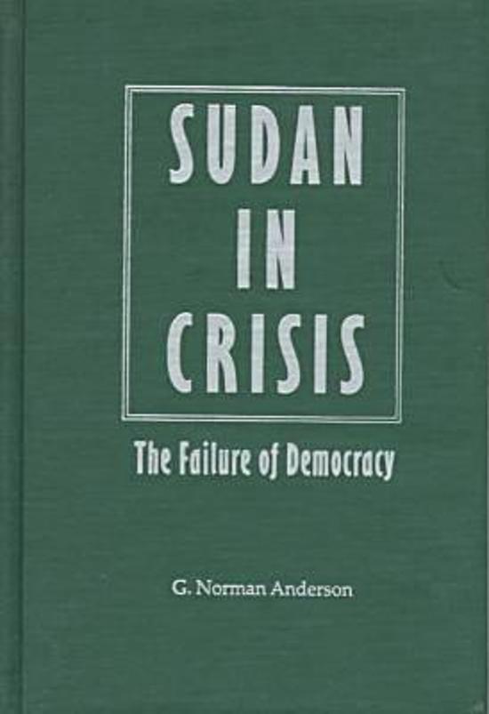 sudan in crisis the failure of democracy by norman g anderson essay