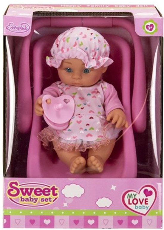 Babypop 20cm in autostoeltje 20x27cm