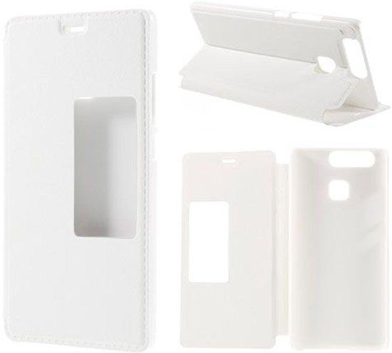 Huawei P9 Hoesje Kijk Window Flip Wit in Wellseind