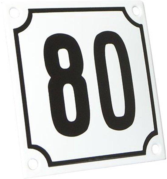Emaille huisnummer wit/zwart nr. 80 10x10cm