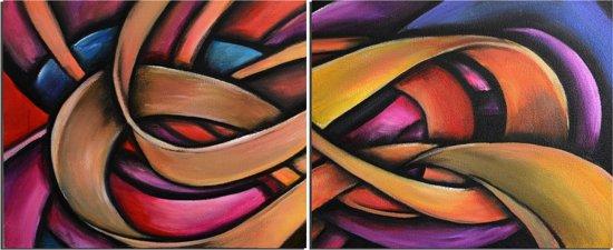Schilderij 2 luik retro abstract 120x50 Artello - Handgeschilderd - Woonkamer schilderij - Slaapkamer schilderij - Canvas - Modern