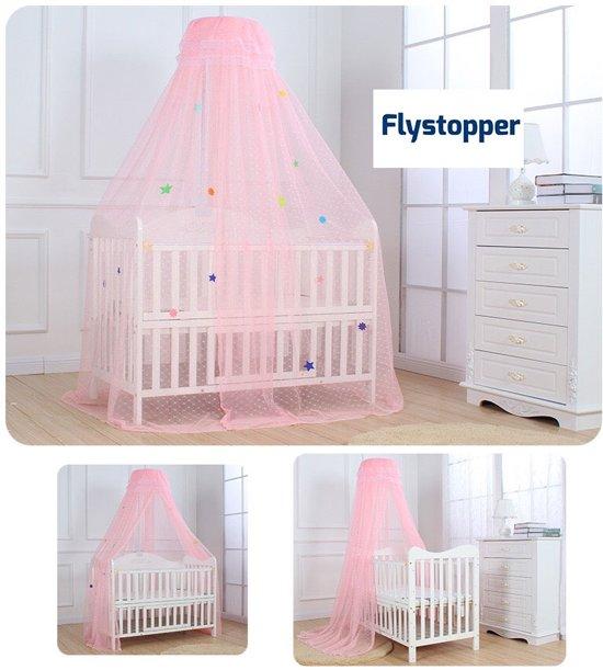 Klamboe Babybed Sluier inclusief Sluierstang - 30x200x550 cm Babyklamboe - Muggennet - Flystopper K500