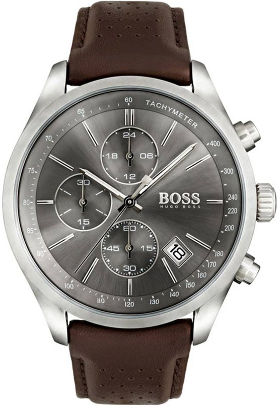Hugo Boss HB1513476 Grand Prix Horloge - Leer - Bruin - Ø44 mm