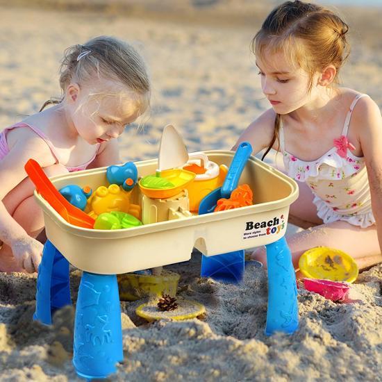 Zand- en watertafel met deksel - Inclusief 8 strandspeelgoedjes en ruimte voor zand en water - Kleine kinderen spelen in de tuin, buitenspelletjes en activiteiten - Perfect voor urenlang plezier