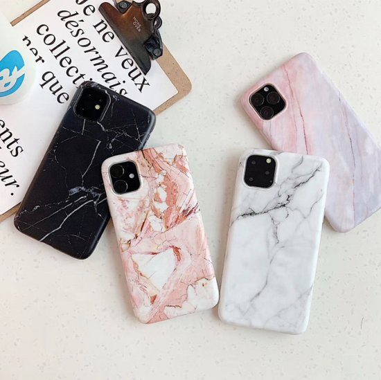 Iphone 11 hoesje - Marmer - Roze/Wit
