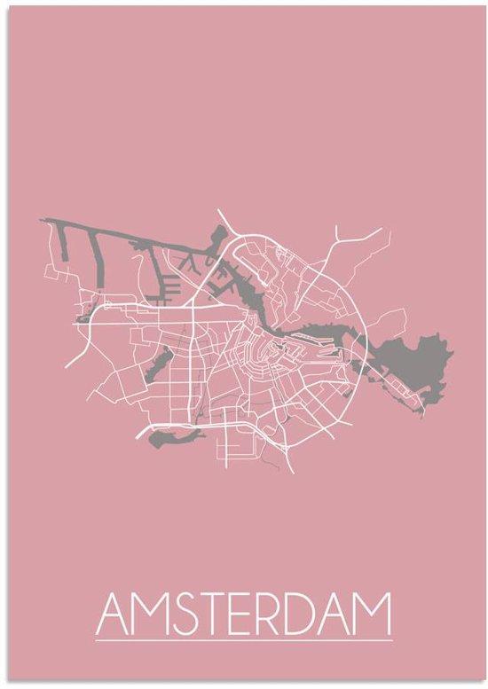 Plattegrond Amsterdam Stadskaart poster DesignClaud - Roze - A4 + fotolijst wit