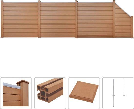 vidaXL Schuttingset 3 vierkant en 1 schuin 625x187 cm HKC bruin