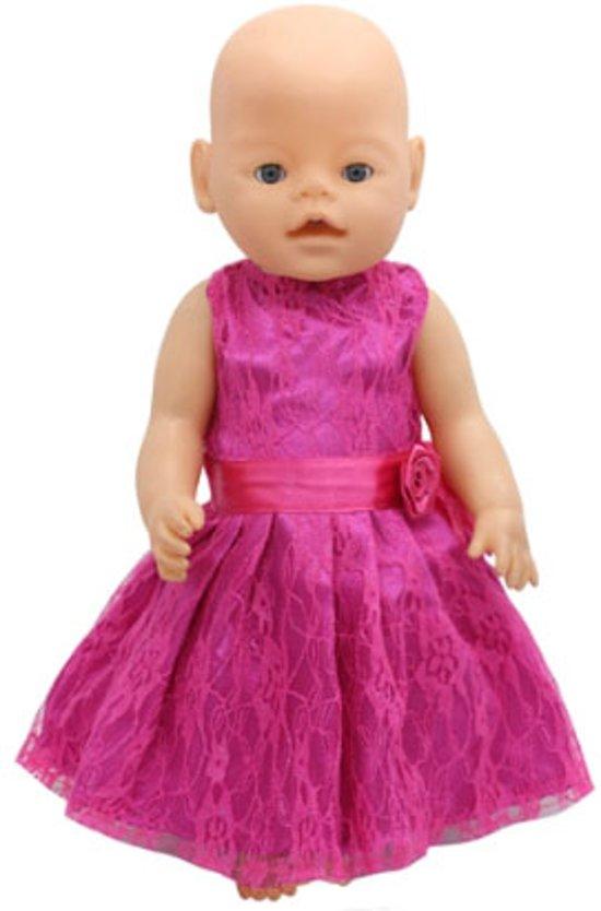 b8447c632697d6 Roze jurkje met kant voor een babypop zoals Baby born - Poppenkleertjes  voor meisje - kleding
