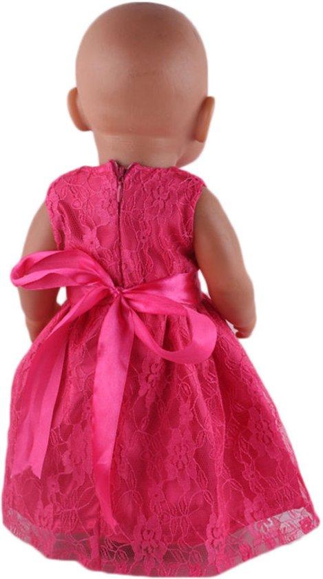 Roze jurkje met kant voor een babypop zoals Baby born - Poppenkleertjes voor meisje - kleding/jurk