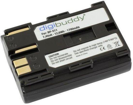 Digibuddy accu Canon BP-511 (o.a. voor Canon EOS 5D/50D/10D/20D/20Da/30D/40D/300D/D10/D30D60)