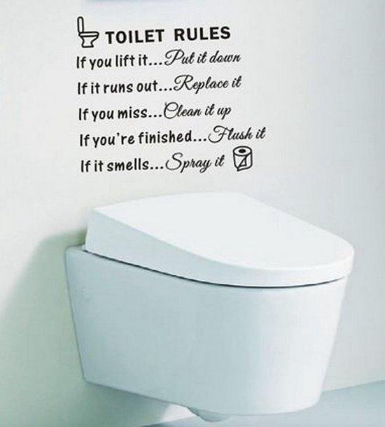 bolcom muursticker toilet rules zwart decoratie wc