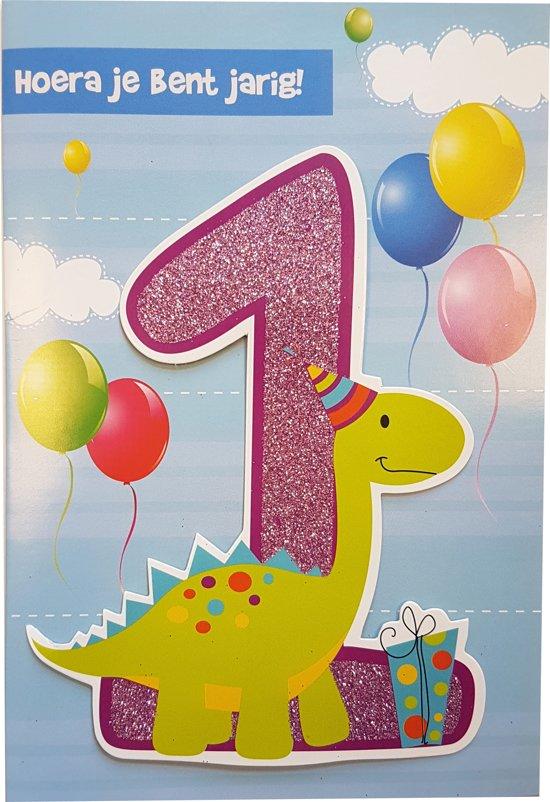Bol Com Verjaardagskaart 1 Jaar Dino Incl Enveloppe