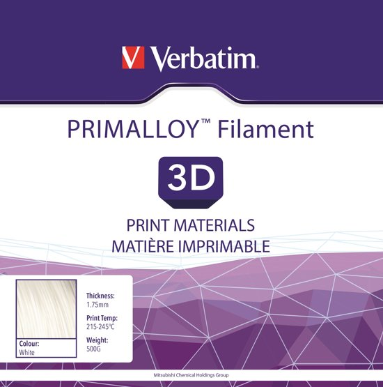 Verbatim 55500 3D Printer Filament PRIMALLOY 1.75mm 500g Wit