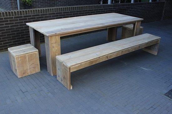 Steigerhout tuinset Klassiek tafel 160x80-2 bankjes-2 krukjes