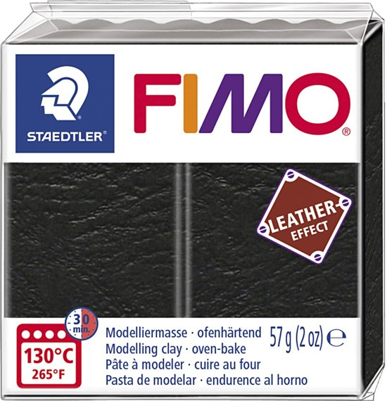 Fimo Effect leather 57 g zwart 8010-909 (04-19)