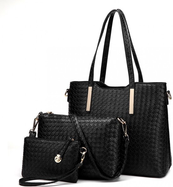 41c0f1a2c6c MISS LULU Elegante driedelige set met Dames Schoudertas, Handtas +  portemonnee in PU leer (