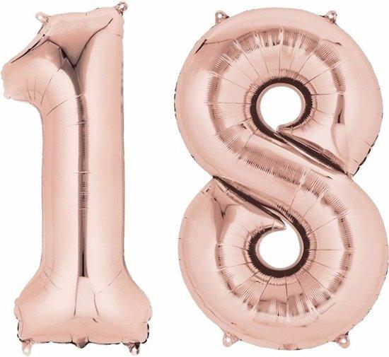 Folie ballon cijfer 18 rose goud Valentinaa