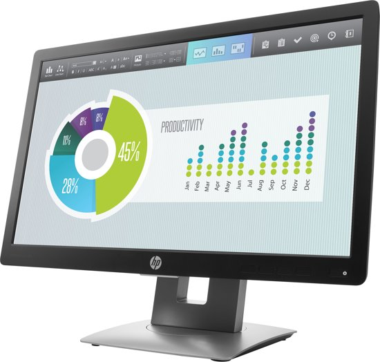 HP EliteDisplay E202 20'' HD+ IPS Zwart, Zilver computer monitor