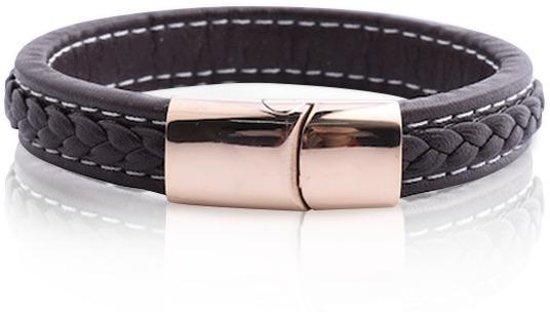 Armband Heren - Armband Dames - Armband - Leren Armband - Leer - Bruine Armband van Leer met Goud Kleurige Schakel - Leron