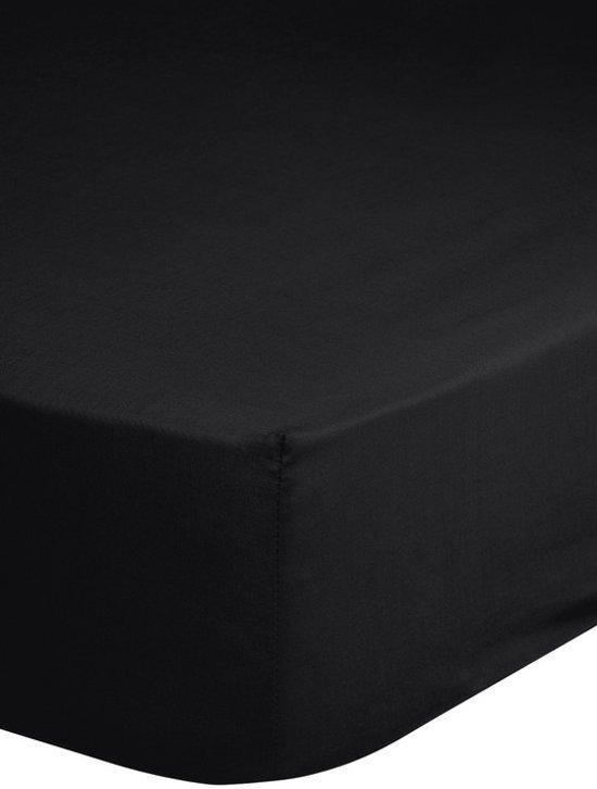 Hoeslaken Katoen Strijkvrij Zwart-180 x 220 cm