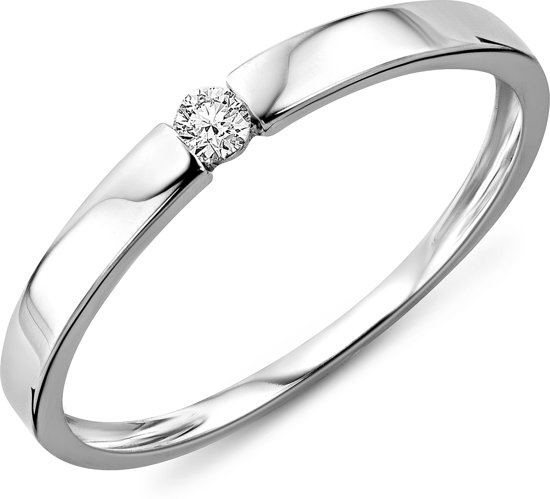 Majestine Ring -  9 Karaats Wit (375) met 0.05ct Diamant Solitaire - Ring Maat 54