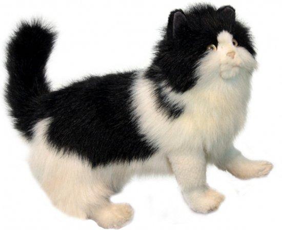 Pluche zwart witte Perzische kat 40 cm