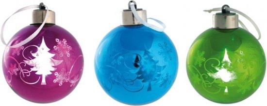bol.com | Glazen kerstbal met LED licht Blauw