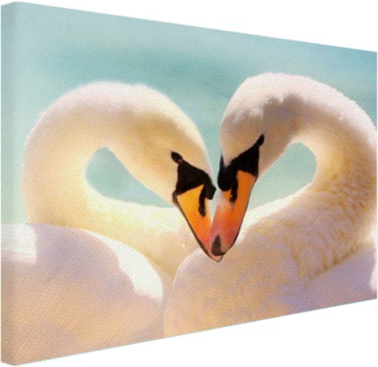 FotoCadeau.nl - Zwanen koppel Canvas 30x20 cm - Foto print op Canvas schilderij (Wanddecoratie)